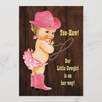 Yee-haw! Blonde Cowgirl Rustic Baby Shower