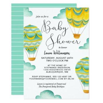 Yellow And Aqua Hot Air Balloons Baby Shower Invitation