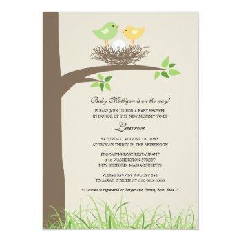 Yellow And Green Baby Bird's Nest | Baby Shower Invitation