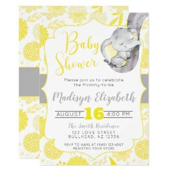 Yellow Dahlias Baby Elephant Boy Baby Shower Invitation