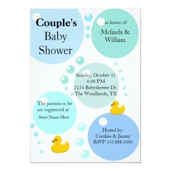 Yellow Duckys And Bubbles Baby Shower Invitation
