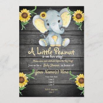 Yellow  Elephant Baby Shower Invitation, Rustic Invitation