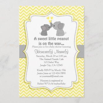 Yellow Elephant Baby Shower Invitations Chev 170
