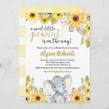 Yellow Elephant Gender Neutral Floral Baby Shower Invitation