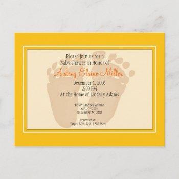 Yellow Footprint Baby Shower Invitation