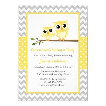 Yellow Gray Chevron Neutral Cute Owl Baby Shower Invitation
