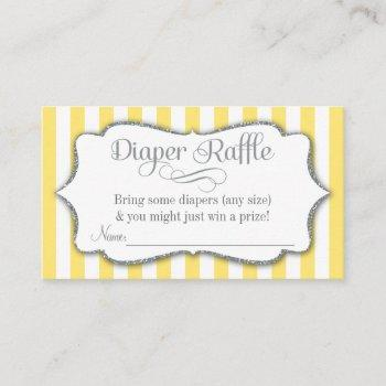 Yellow Gray Diaper Raffle Baby Shower Cards Silver