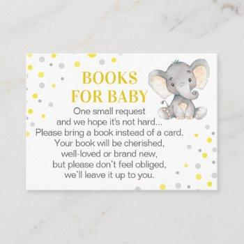 Yellow Gray Elephant Books For Baby Book Request Enclosure Card