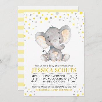 Yellow Gray Neutral Polka Dot Elephant Baby Shower Invitation