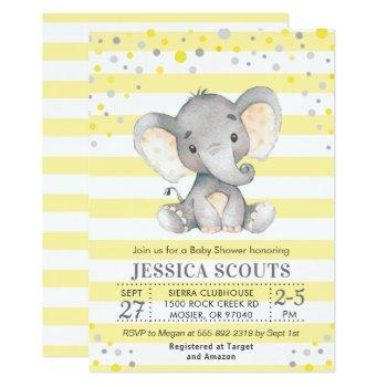 Yellow Gray Neutral Polka Dot Elephant Baby Shower Invitation
