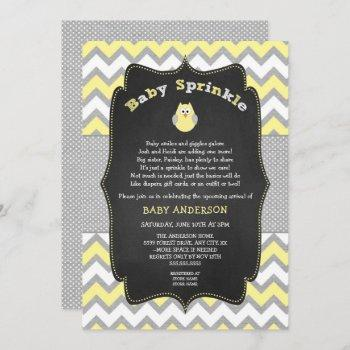 Yellow Owl Baby Sprinkle, Neutral Baby Shower Invitation