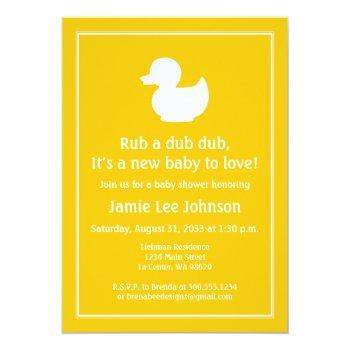 Yellow Rubber Duckie Baby Shower Invitation