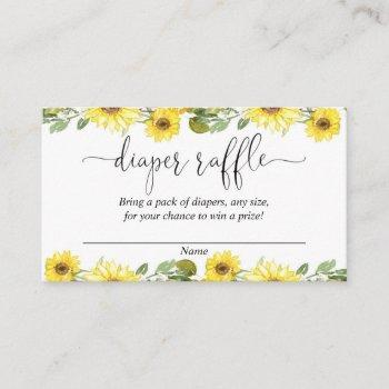 Yellow Sunflowers Baby Shower Diaper Raffle Cards