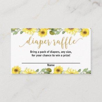 Yellow Sunflowers Baby Shower Diaper Raffle Cards