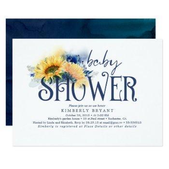 Yellow Sunflowers Elegant Navy Blue Baby Shower Invitation