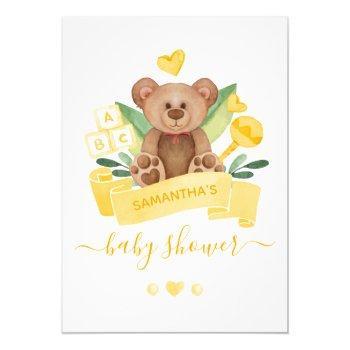 Yellow Watercolor Teddy Bear & Toys Baby Shower Invitation