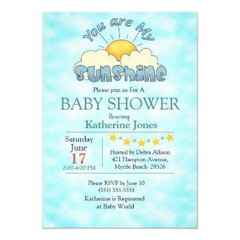 You Are My Sunshine Baby Boy Shower Invitation