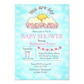 You Are My Sunshine Baby Girl Shower Invitation
