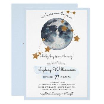 Zodiac Over The Moon Baby Shower Invitation